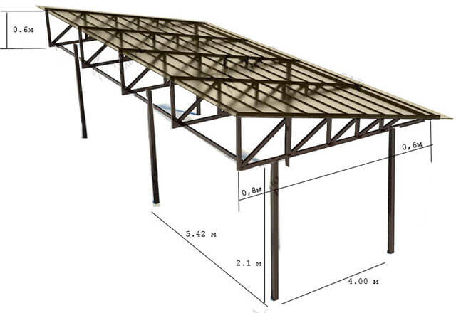 односкатный навес из поликарбоната угол наклона