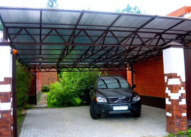 высота навеса для автомобиля из поликарбоната