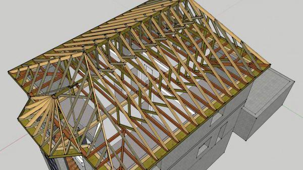 Модель стропильной системы вальмовой крыши