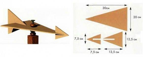 Схема выкройки и собранного ветряка из фанеры