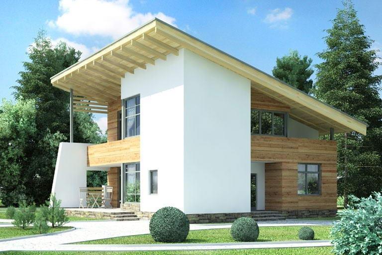 Жилой дом с односкатной крыше