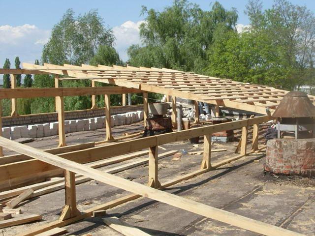 Монтаж обрешетки односкатной крыши