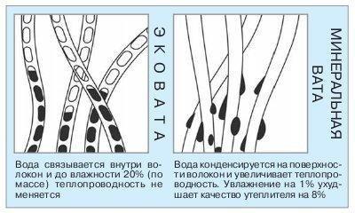 Сравнение гигроскопичности эковаты и минаральной