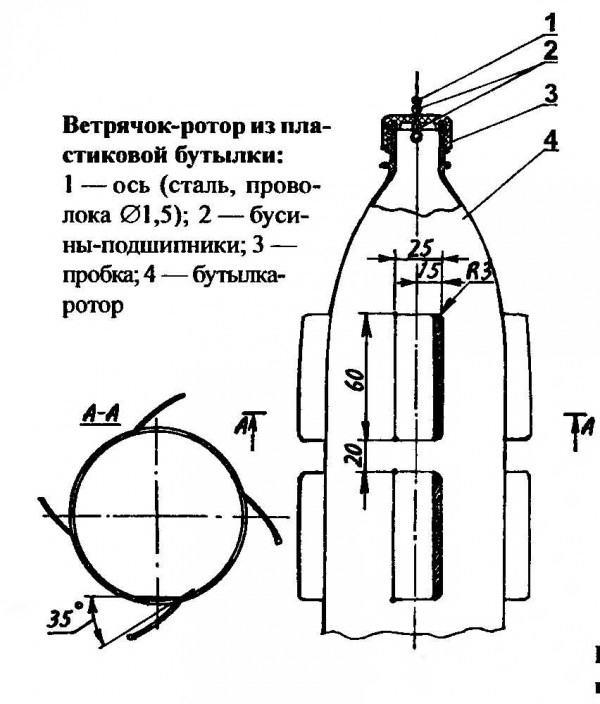 Схема изготовления ветряка с роторами из бутылки