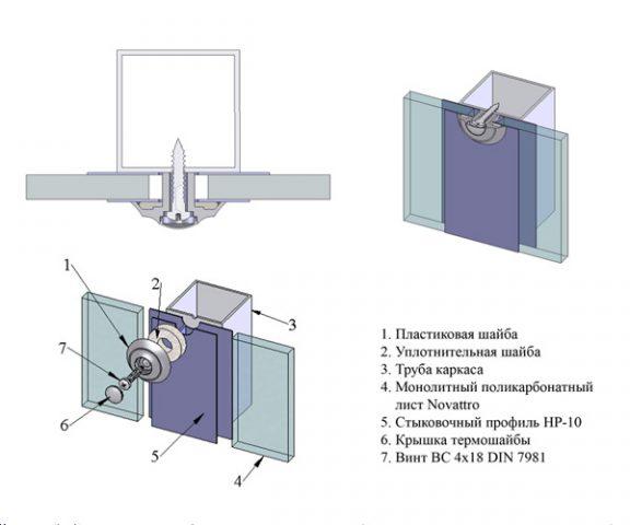 Схема крепления монолитного пластика