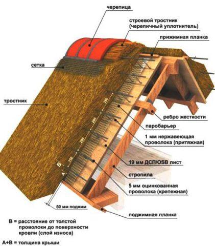 Схема устройства камышовой крыши