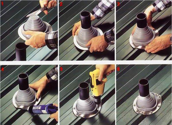 Монтаж силиконового уплотнителя для гидроизоляции соединения между профнастилом и трубой