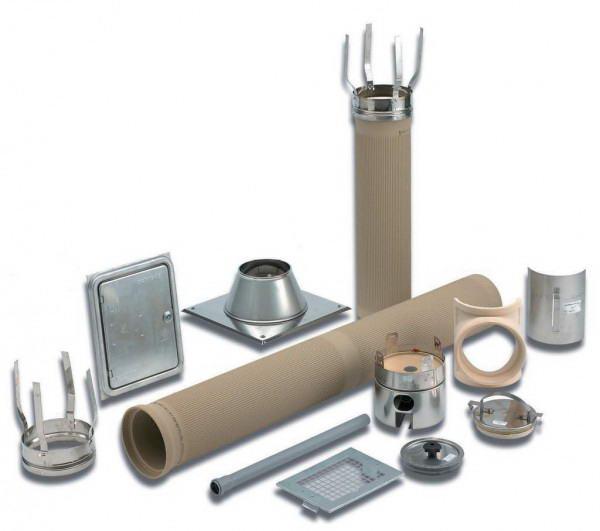 Ассортимент элементов для сборки керамического дымохода