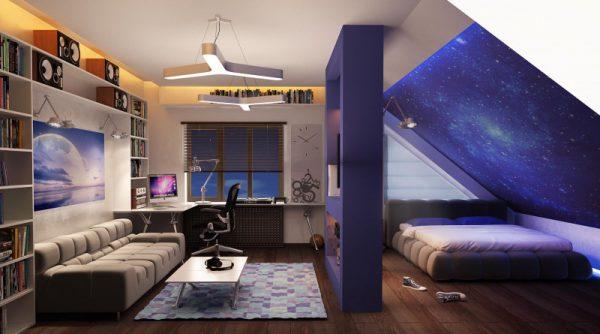 Комната для подростка на переоборудованном чердаке