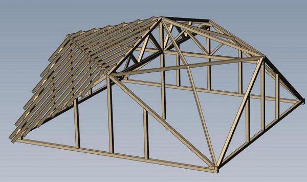 Аксонометрия конструкции крыши архитектора Судейкина