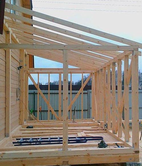 как сделать односкатную крышу на пристройке