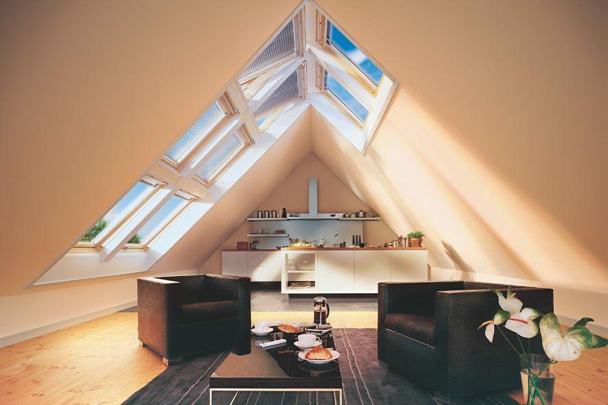Мансардное помещение под двухскатной крышей