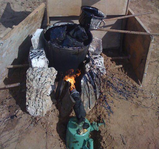 Приготовление горячей мастики