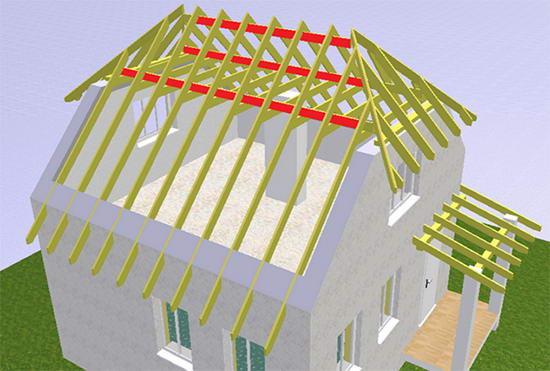 Стропильная система полувальмовой крыши