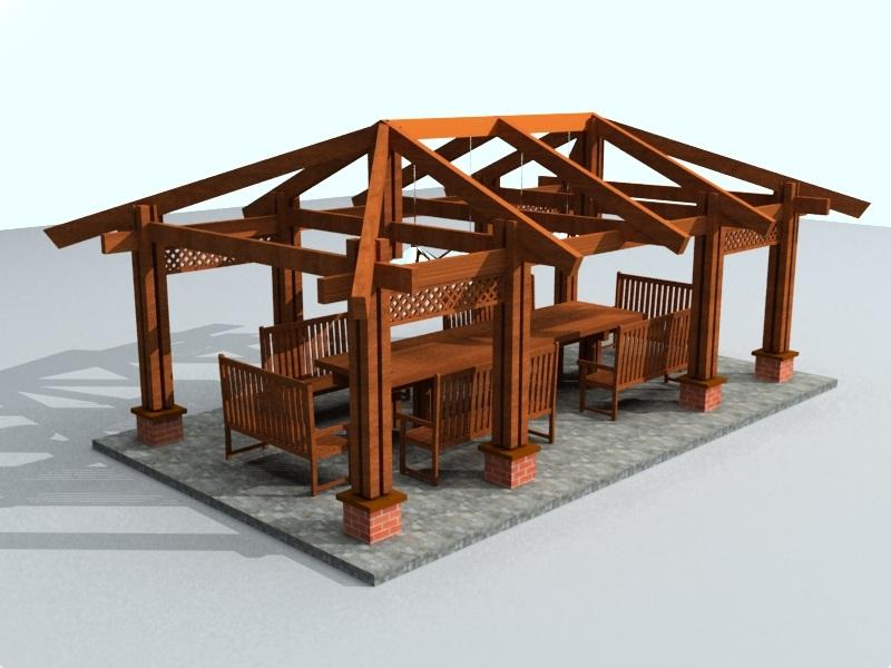 Проект беседки с четырехскатной крышей