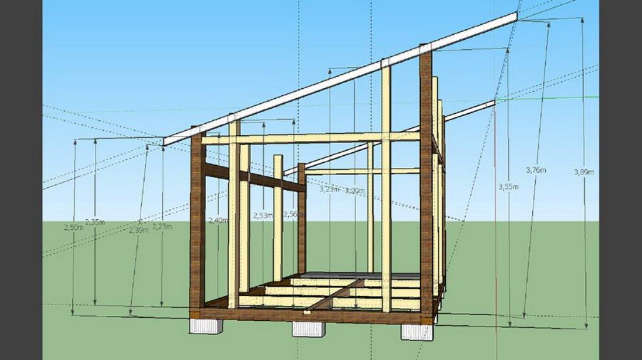 Проект беседки с односкатной крышей