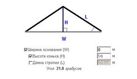 Окно онлайн-калькулятора, рассчитывающего высоты конька