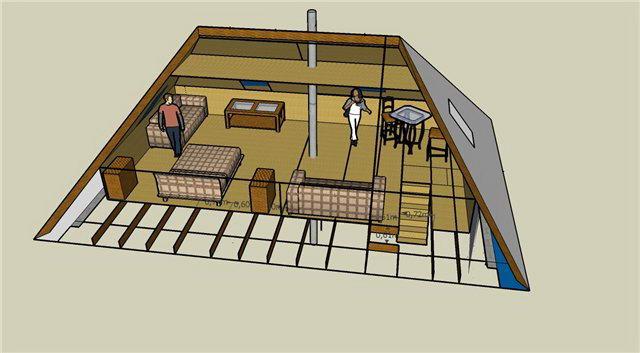 Мансарда в четырехскатной крыше