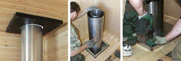 Монтаж короба для вывода дымоходной трубы