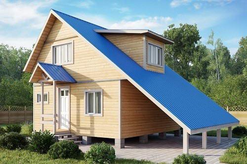 Двухскатная мансардная крыша с ассиметричными скатами