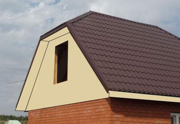 фронтон крыши из кирпича