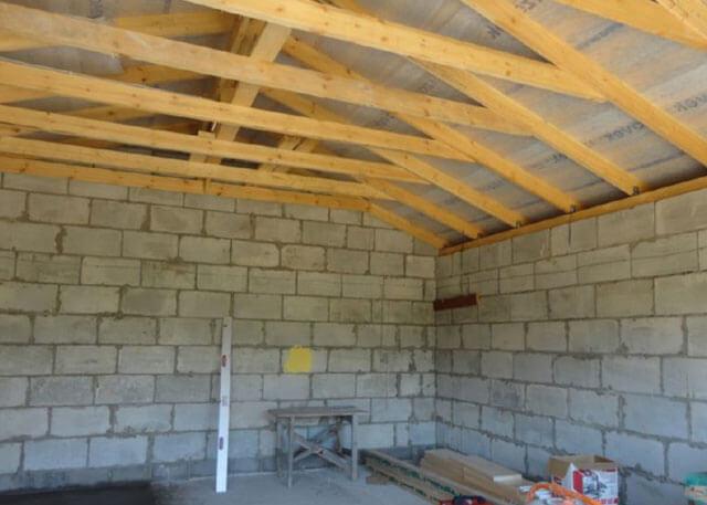 чертеж гаража с односкатной крышей