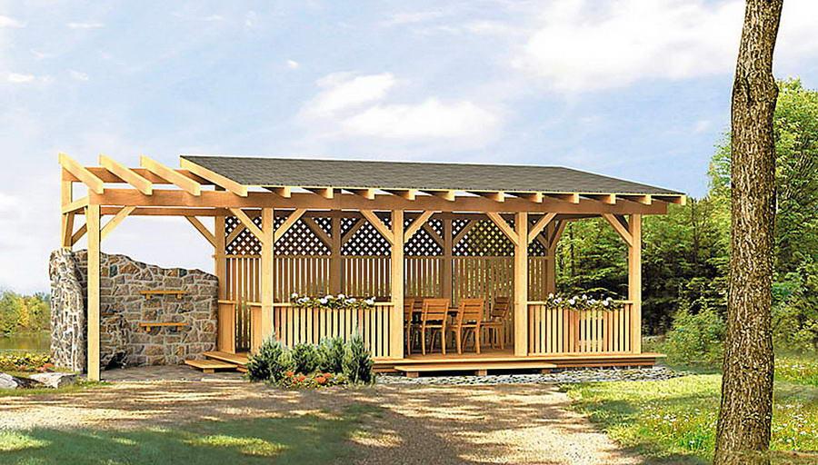 Прямоугольная беседка с односкатной крышей