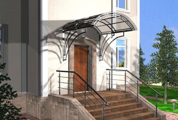 как сделать козырек над дверью из поликарбоната