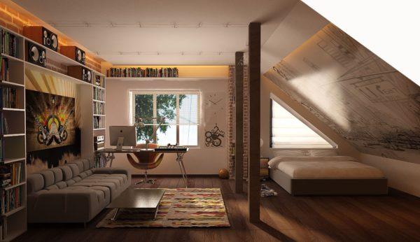 Если сделать большой угол ската крыши, то внутри можно обустроить жилое мансардное помещение
