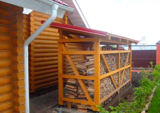 как построить навес для дров своими руками