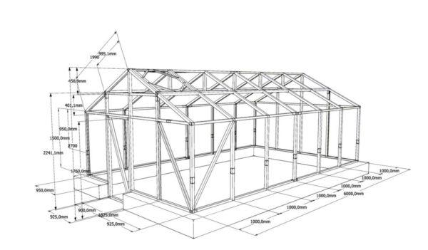 Готовый чертеж теплицы из поликарбоната с двухскатной крышей, если вам подходит, то можете воспользоваться им