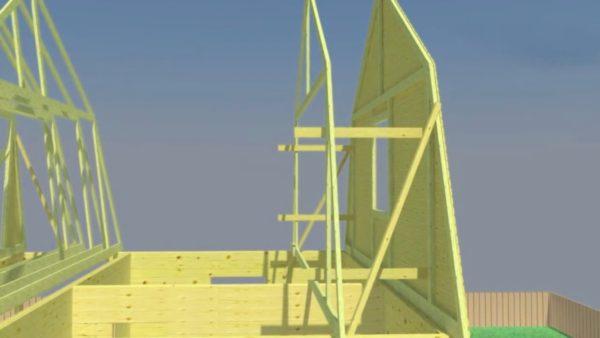 Ломаная мансардная крыша будет прочной, если фермы будут установлены с шагом не более 90 см