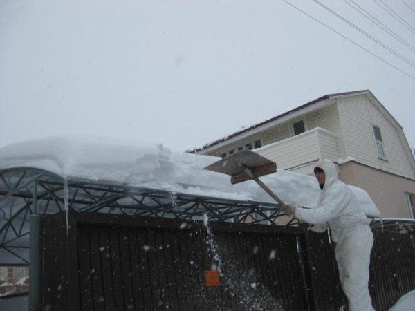Малый уклон гарантирует опасное скопление снега.