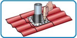 монтаж металлочерепицы вокруг трубы