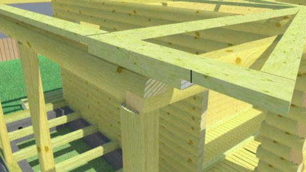На балке перекрытия видна связка, которую располагаем внутрь постройки