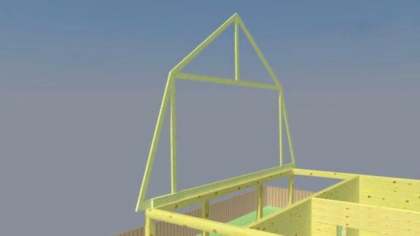 Одна из стропильных конструкций будет фронтоном спереди дома, а другая - сзади