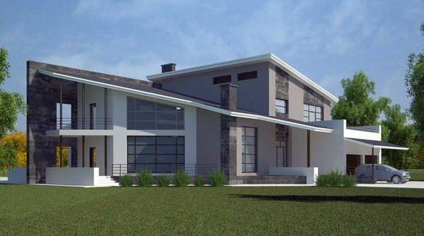 Односкатная крыша на большом доме может выглядеть ничуть не хуже, чем более сложные конструкции.