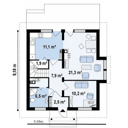 План 9х9 м позволяет вместить весь необходимый набор помещений.
