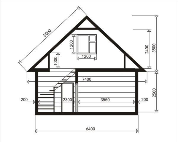 Схема мансардной конструкции при ширине крыши менее 6,5 метров.