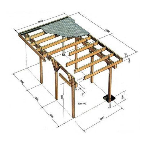 Схема сборки деревянного навеса