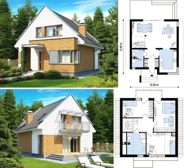 Средний домик на семью из 4 человек.