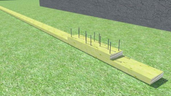 Толщина двух досок составляет 100 мм, а значит 50 мм гвоздя выйдет с обратной стороны