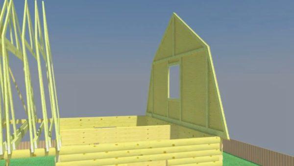 Установлен задний фронтон с оконным проемом